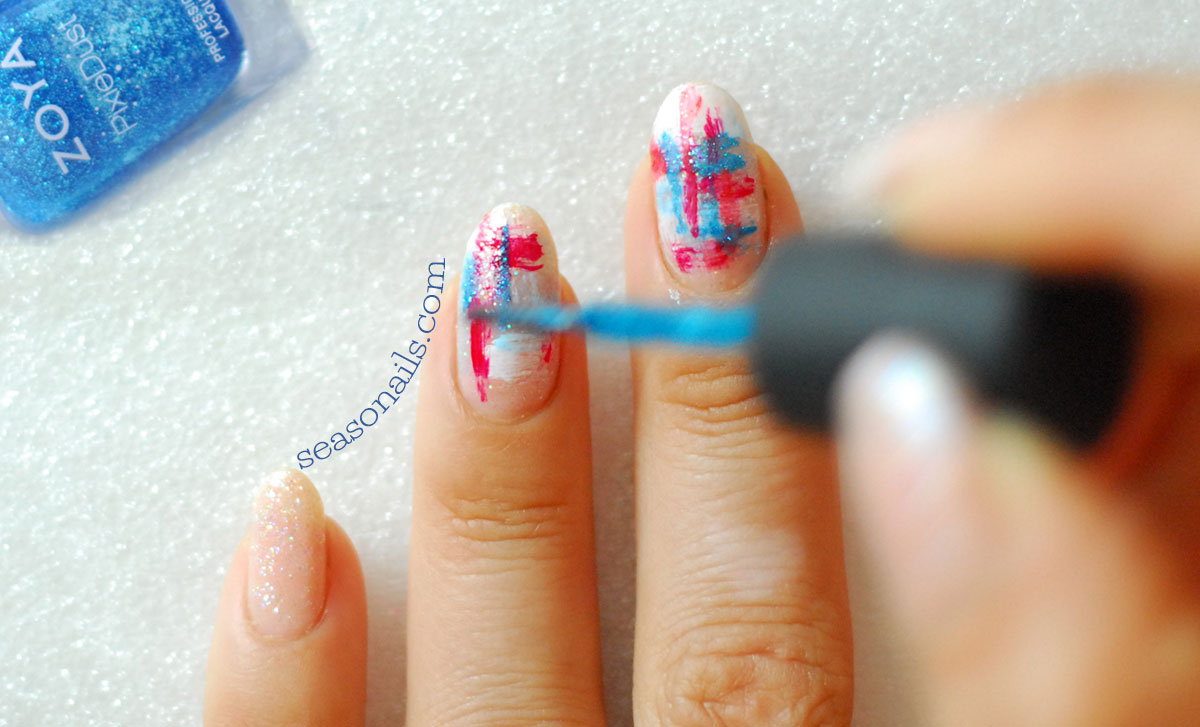 4th of july mani step by step