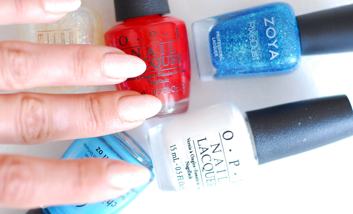 4th of july nails step one