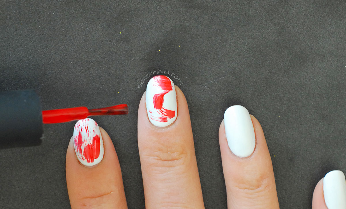 abstract white red nails how to
