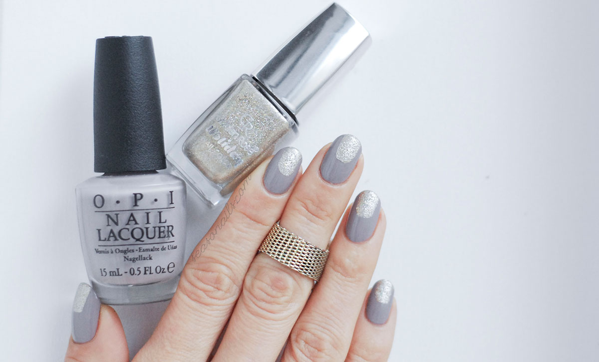 artistic festive nails grey gold