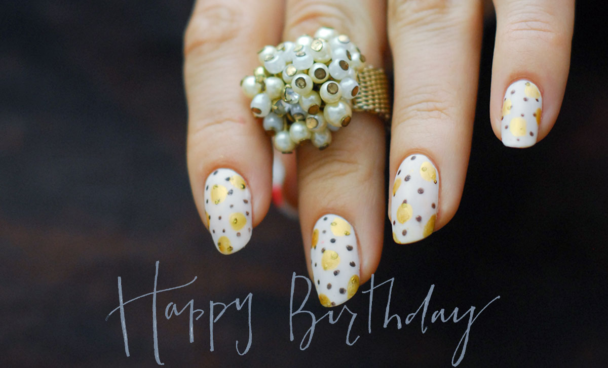 birthday dotted nails