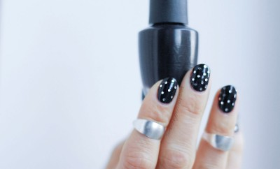 black and silver dotticure glitter nail art