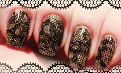 black lace stamping