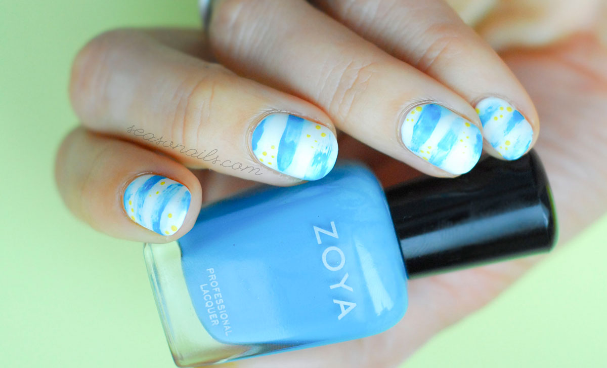 blue yellow navy abstract summer nails