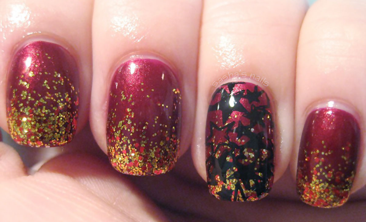 gold glitter burgundy stamped christmas nails