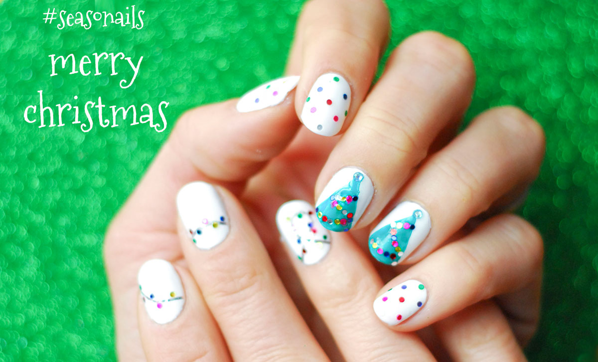 christmas nails glitter trees lights string