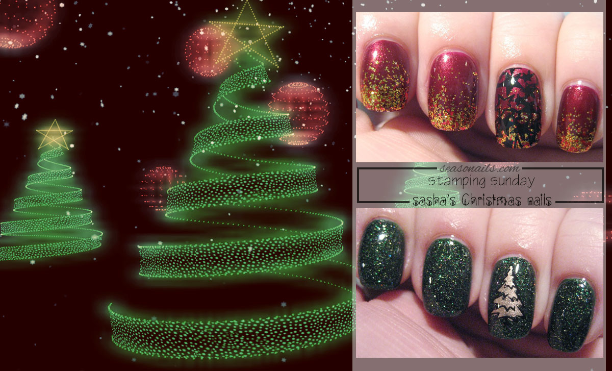 Christmas stamped nails