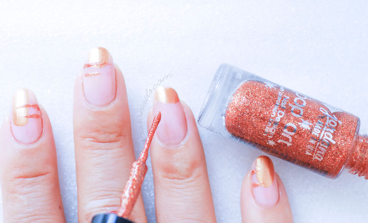copper gold easy nail art