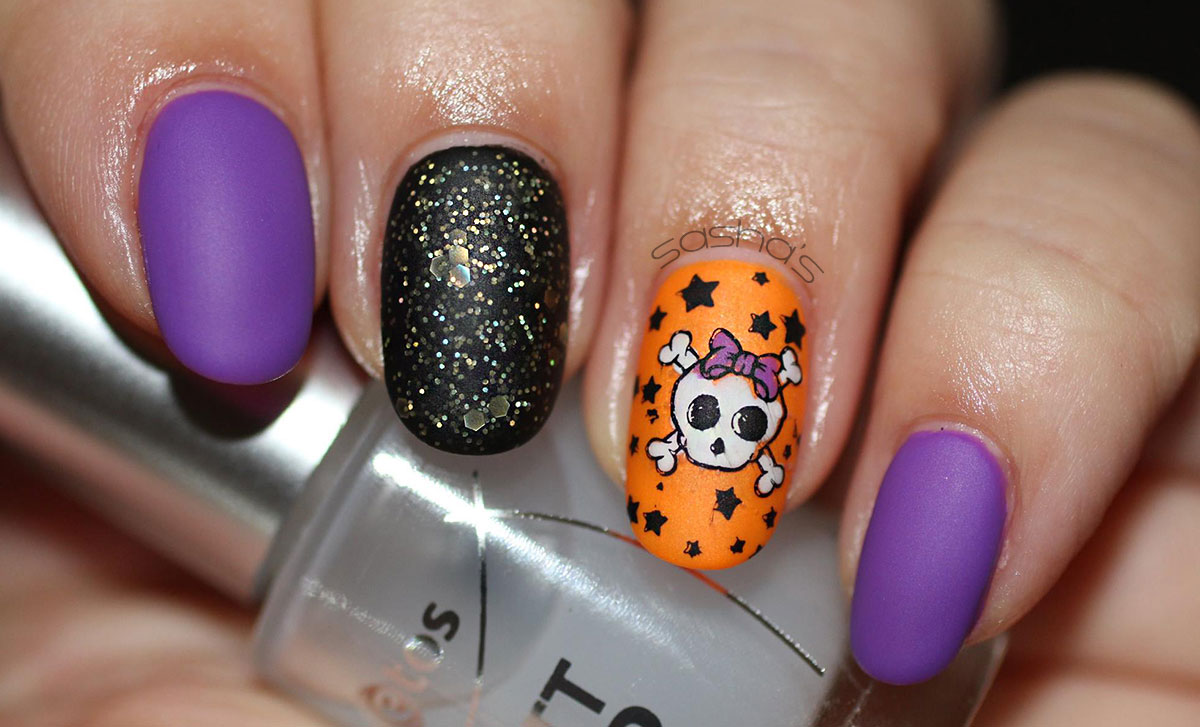 cute halloween skull stamped nails matte