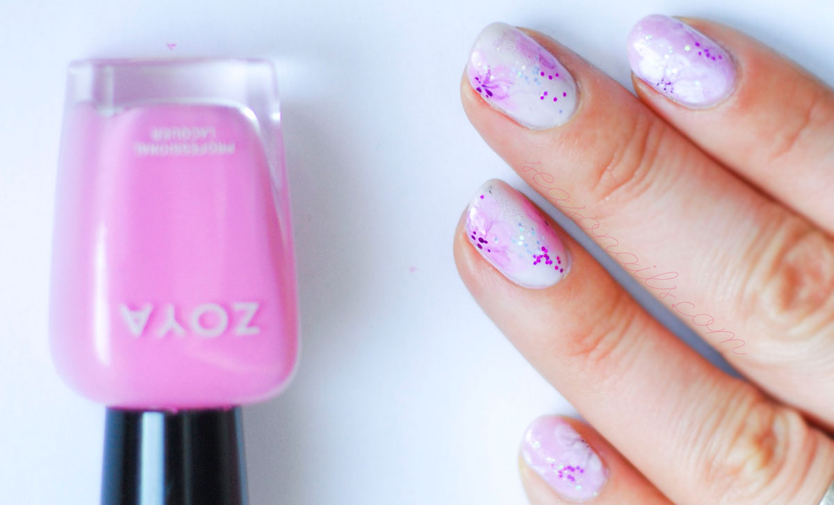 delicate pink spring flowers nails