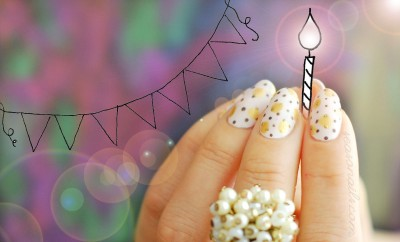 dotted birthday party nails