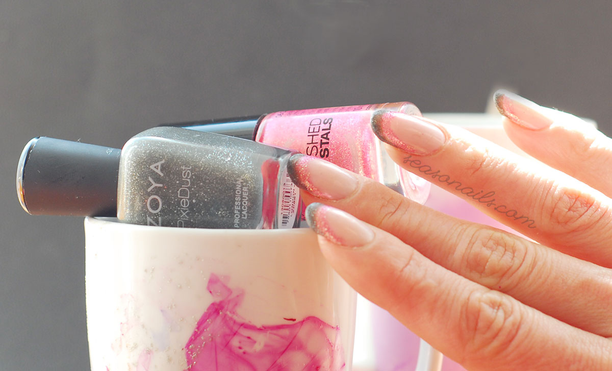 double french nails pink grey