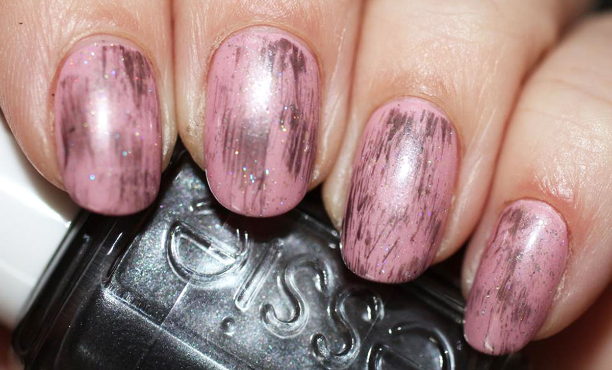 dry brush over pink nails