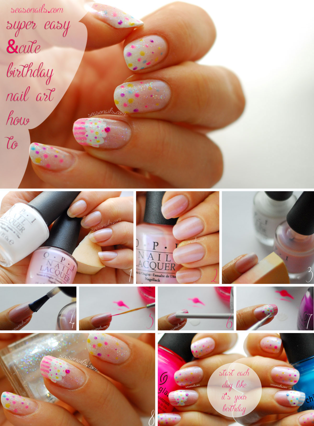 easy birthday nails Seasonails nail art tutorial
