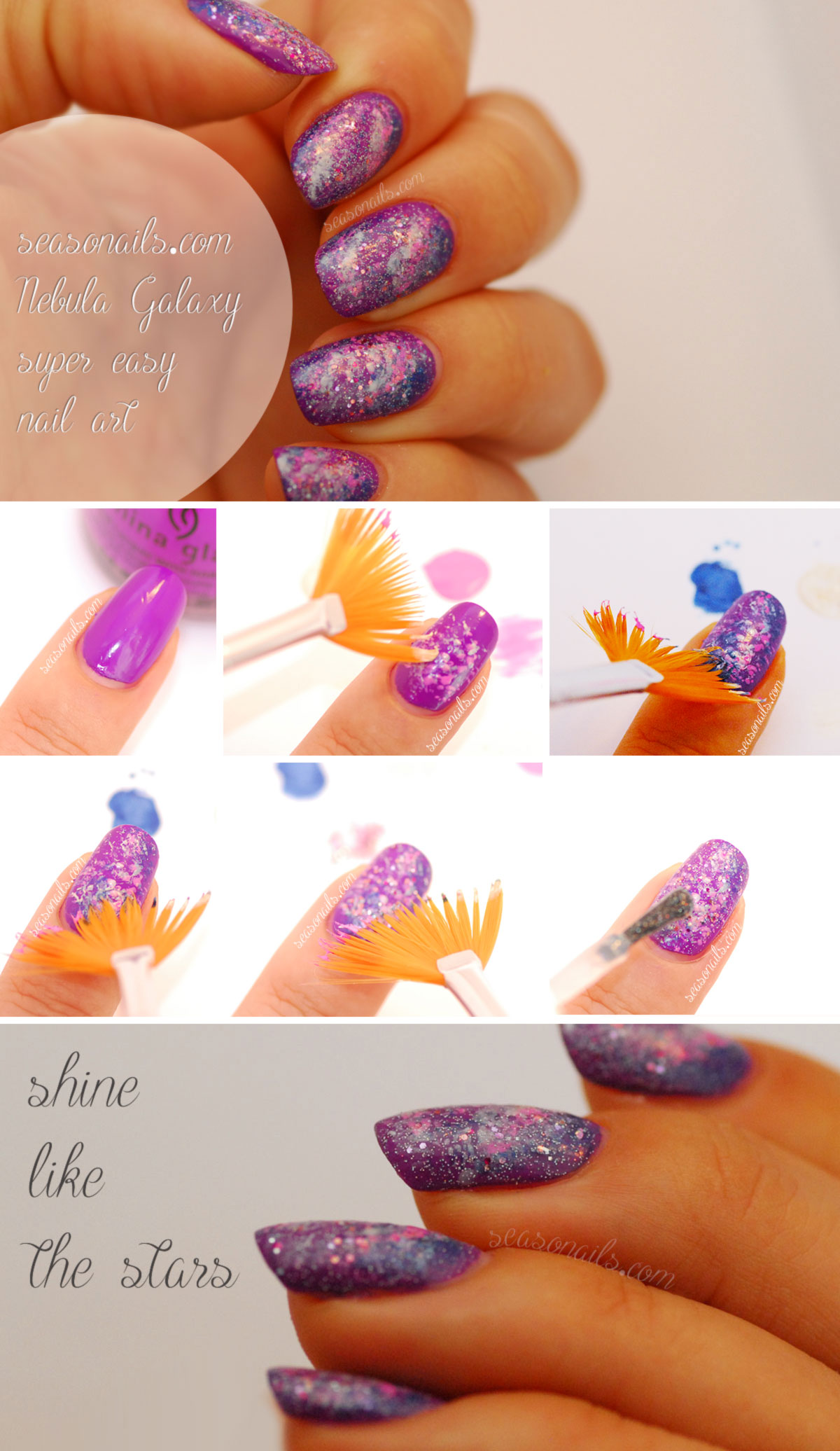 easy nail art how to Galaxy Nails Seasonails Tutorial
