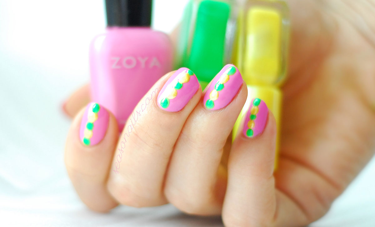 easy spring nails pink yellow green