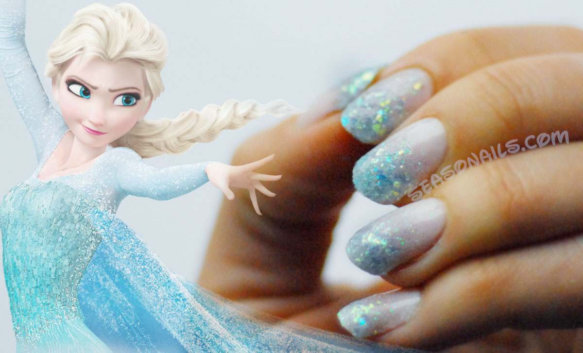 Elsa nails winter nail art Seasonails