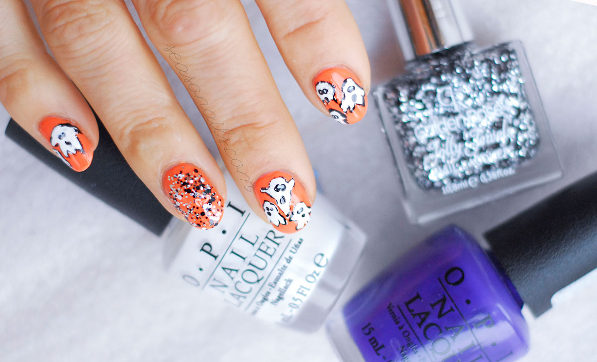 fall halloween ghosts nails