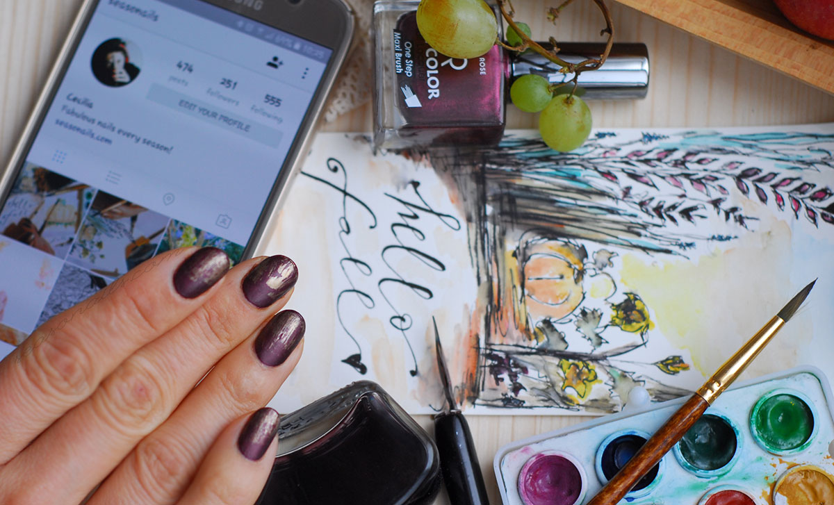 fall inspiration watercolor ink drawing ombre nails
