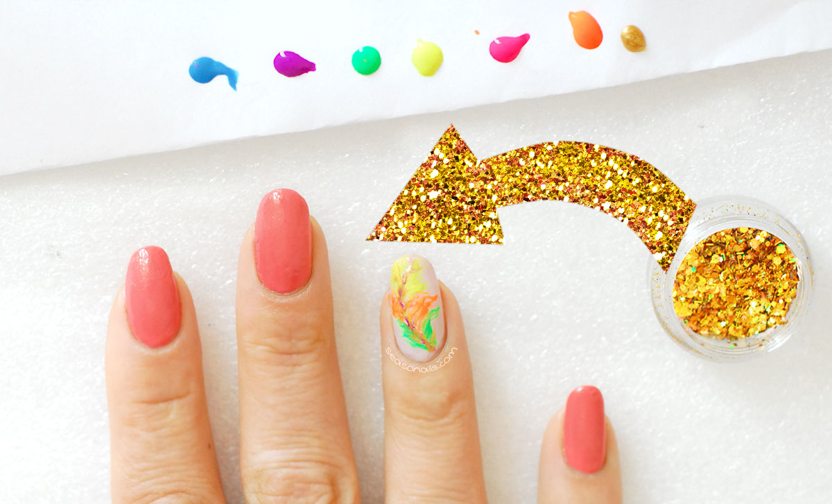 feather glitter summer nails how to