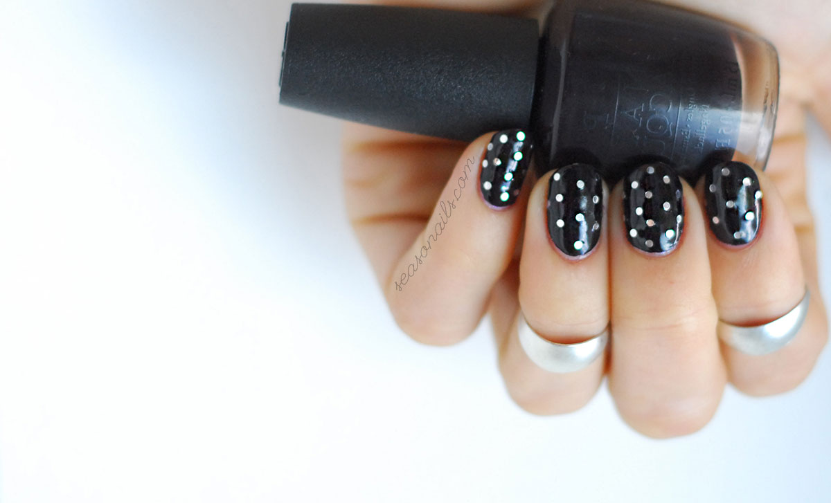 glitter dotticure black silver nails
