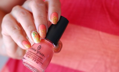 glitter gradient peach summer nails