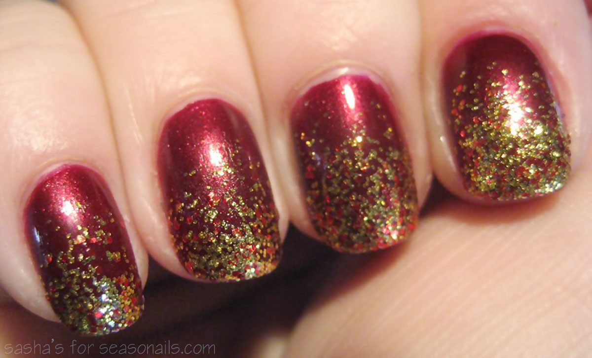 gold glitter burgundy nails sasha s
