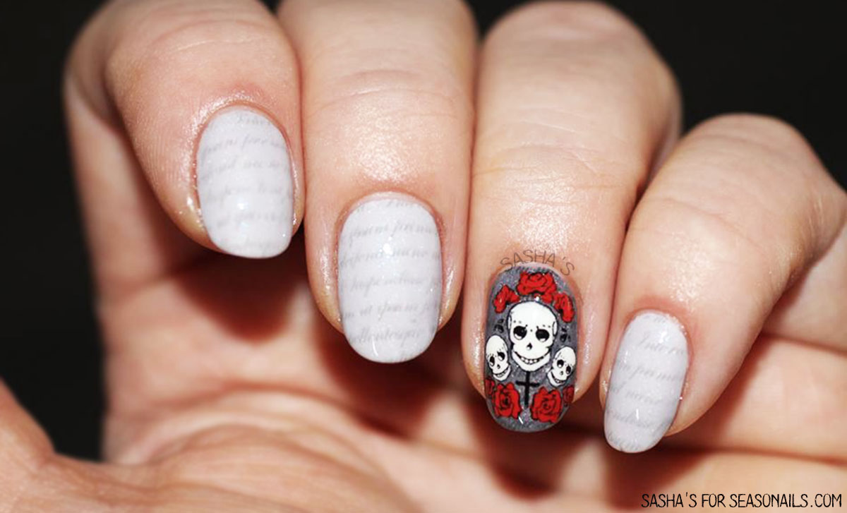 gothic nails love letters skulls valentine s day halloween