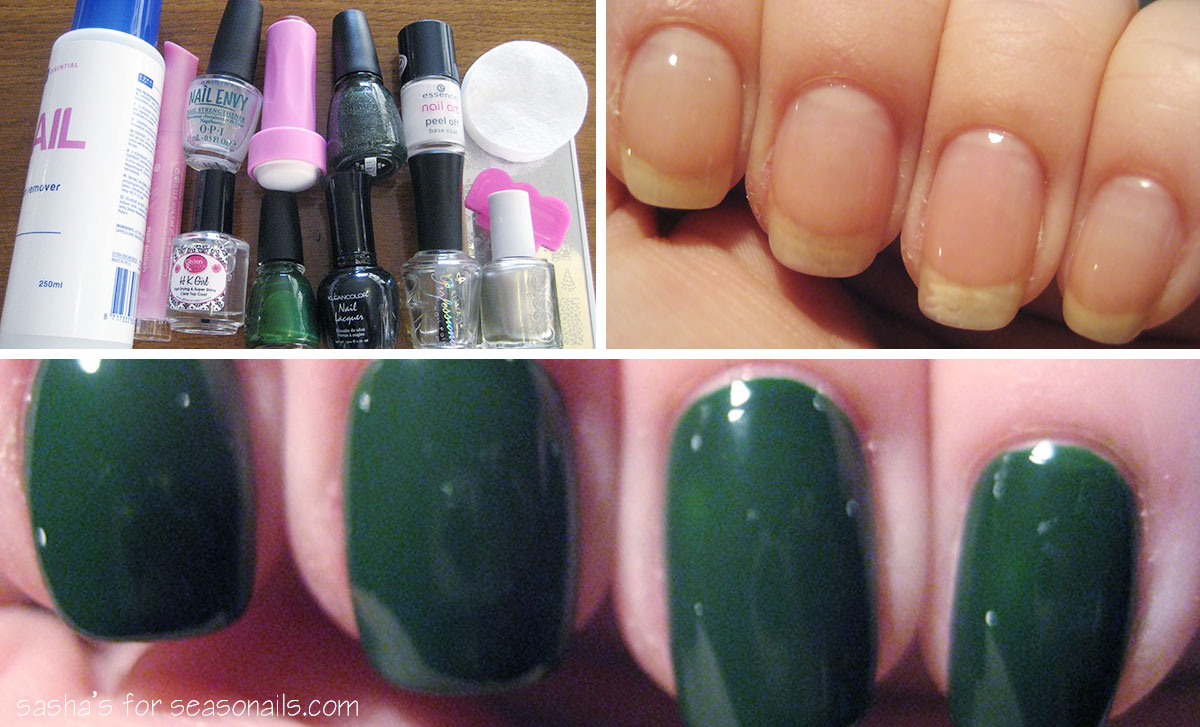 green stamped nails tools