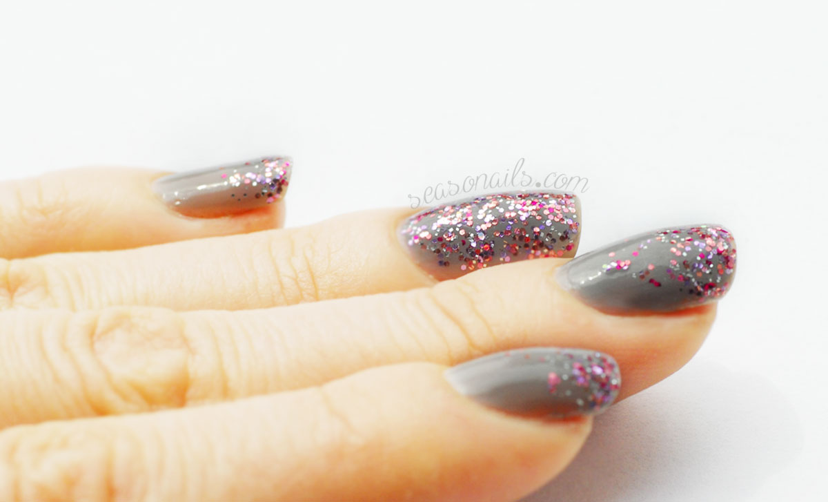 grey nails pink glitter gradient Seasonails indie polish FGT