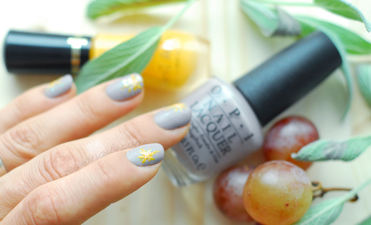happy fall nails grey yellow