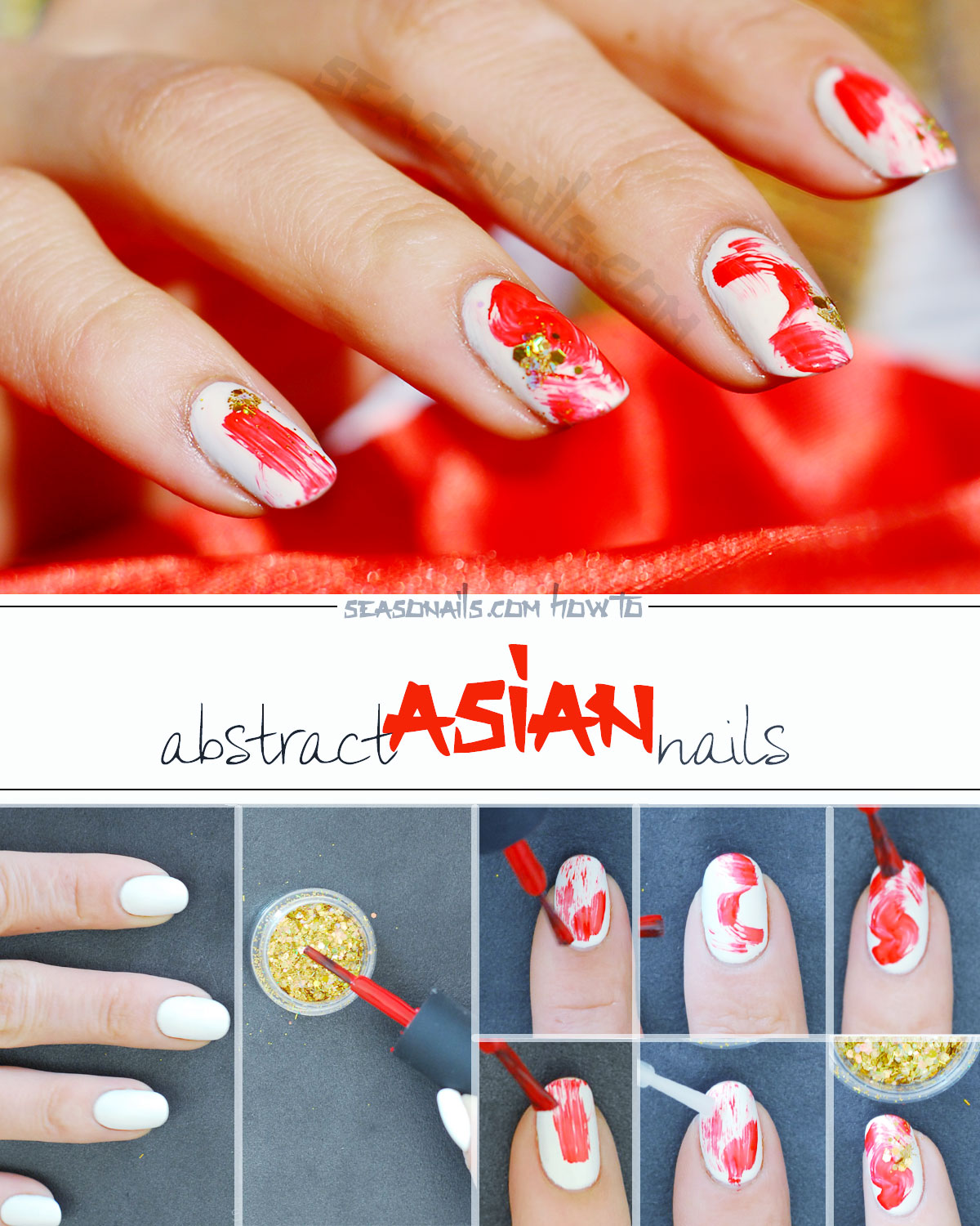 how to abstract asian nails met gala tutorial