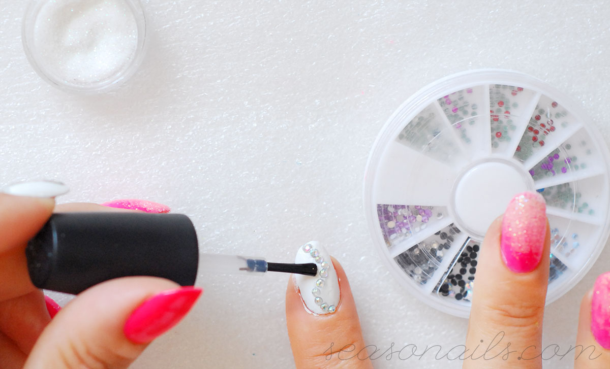 how to add crystals to summer nails