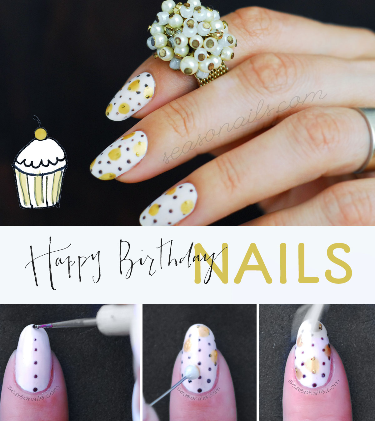 how to birthday party nails tutorial