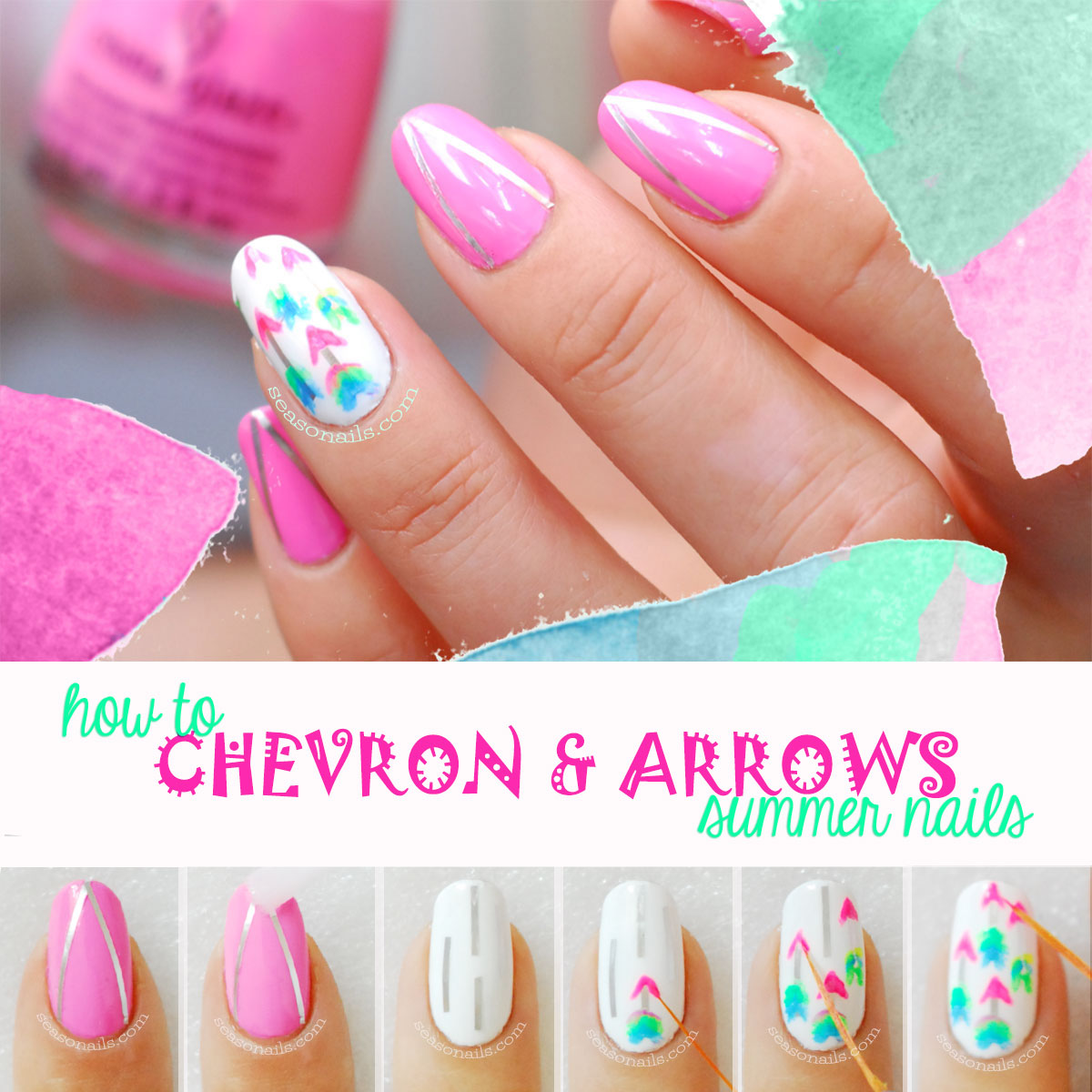 how to chevron arrows summer nail art tutorial