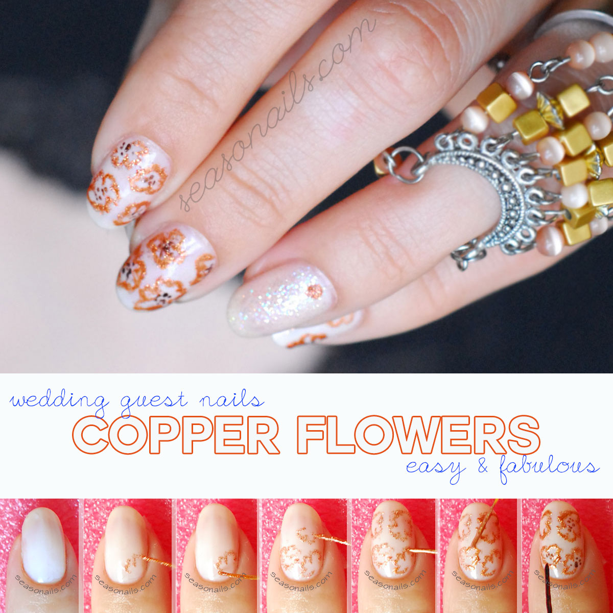 how to copper flowers nail art wedding guest mani tutorial