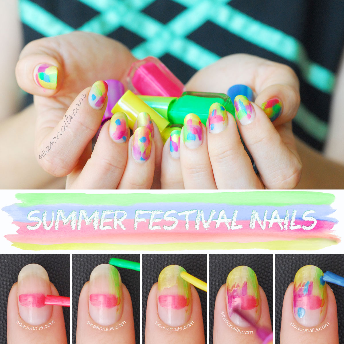 how to diy summer festival nails tutorial
