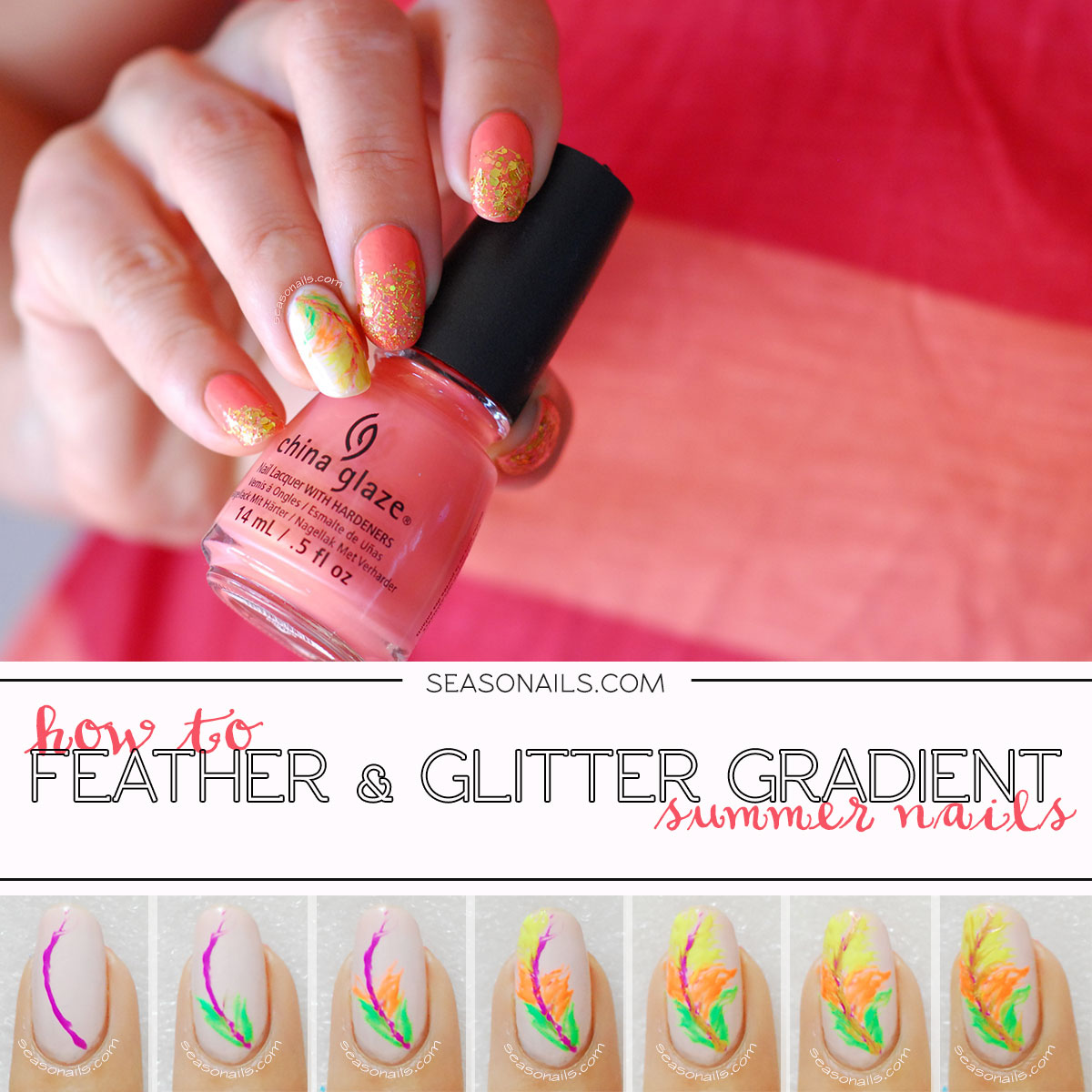 how to feather nail accent glitter summer nails tutorial