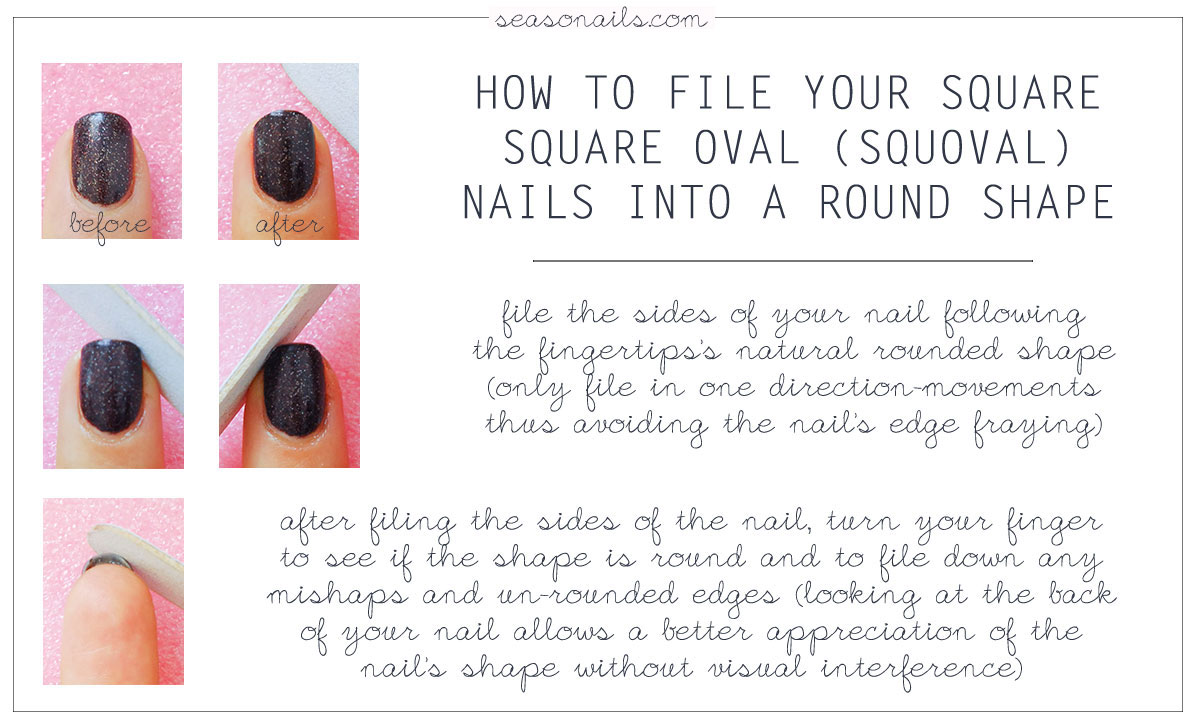 how to file your nails from square squoval to round