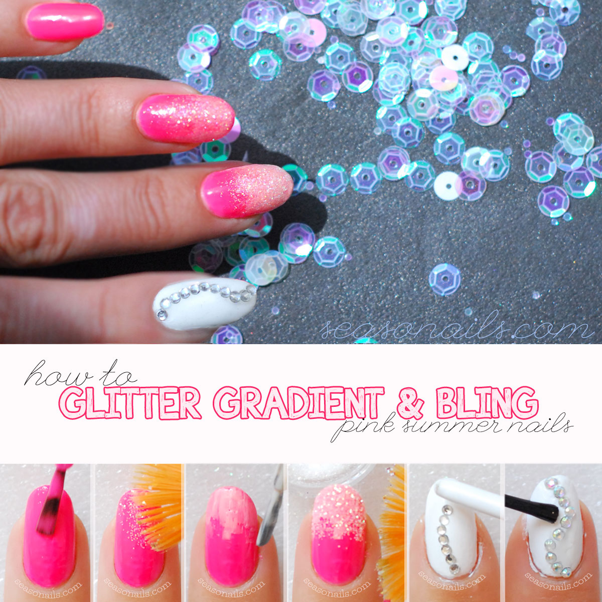 how to glitter gradient hot pink summer nails tutorial
