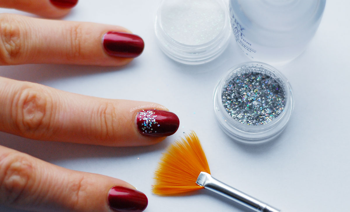 how to glitter gradient nails deep wine