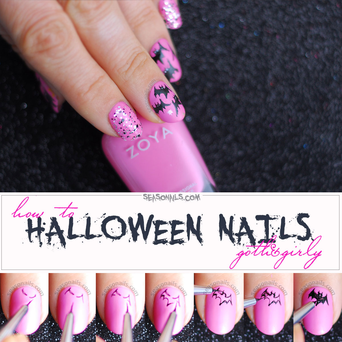 how to halloween nails bats step by step tutorial