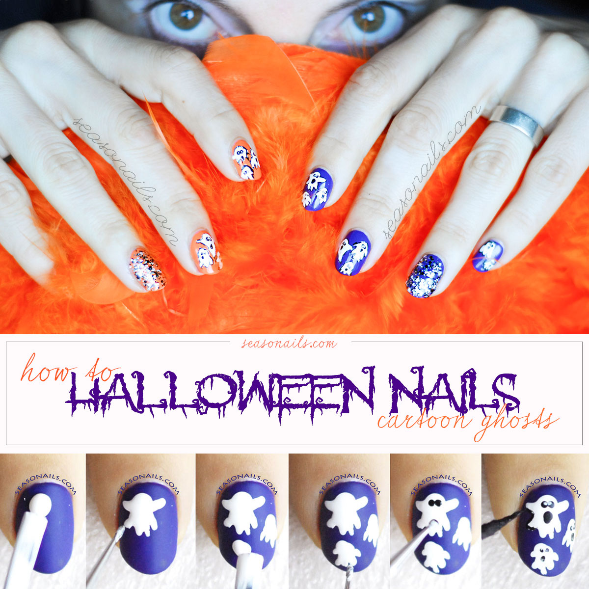 how to halloween nails cartoon ghosts manicure tutorial step by step
