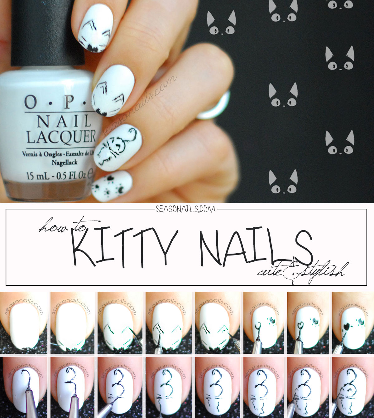 how to kitty nails cat halloween nail art tutorial step by step