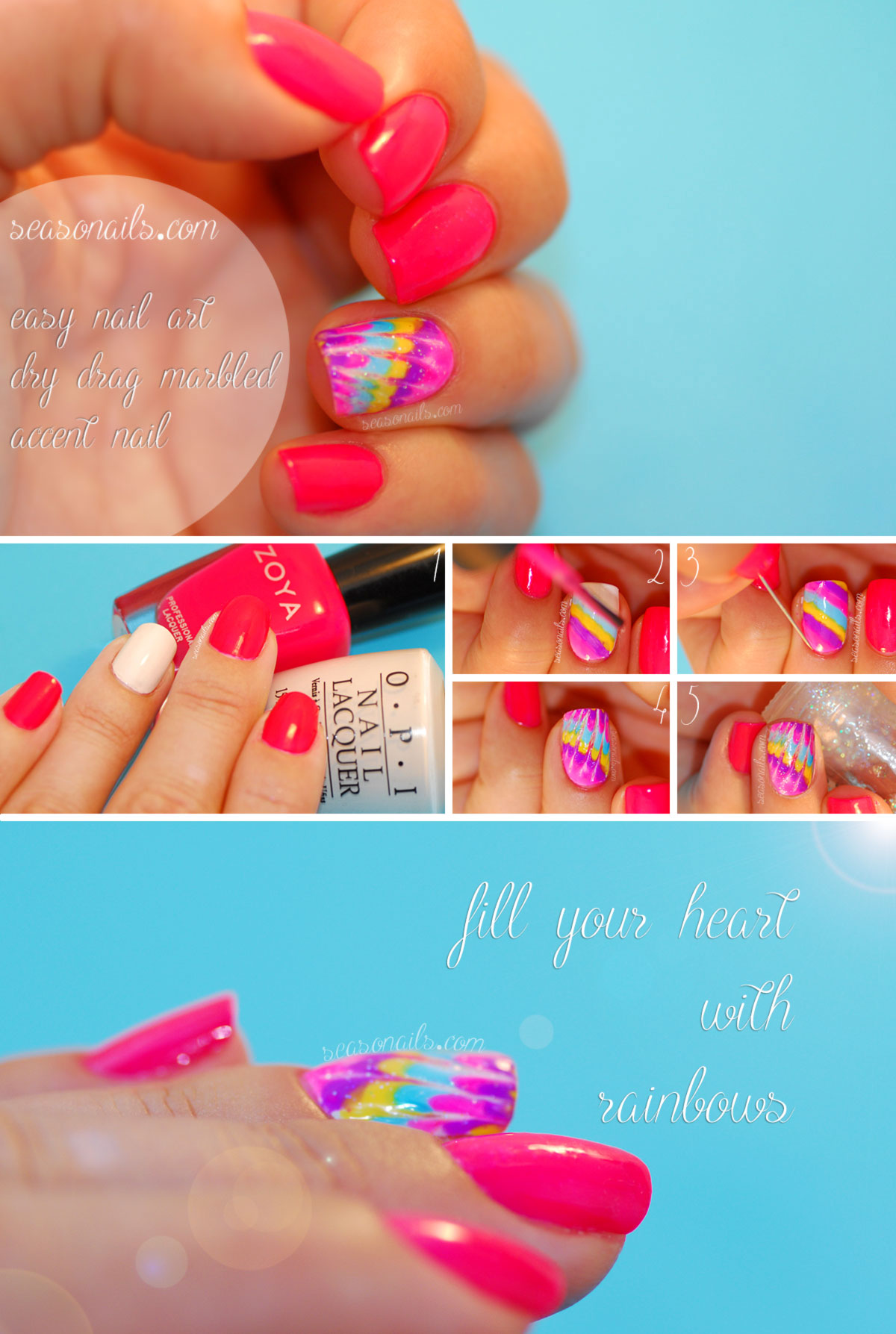 How to needle drag dry marbled nail art Seasonails