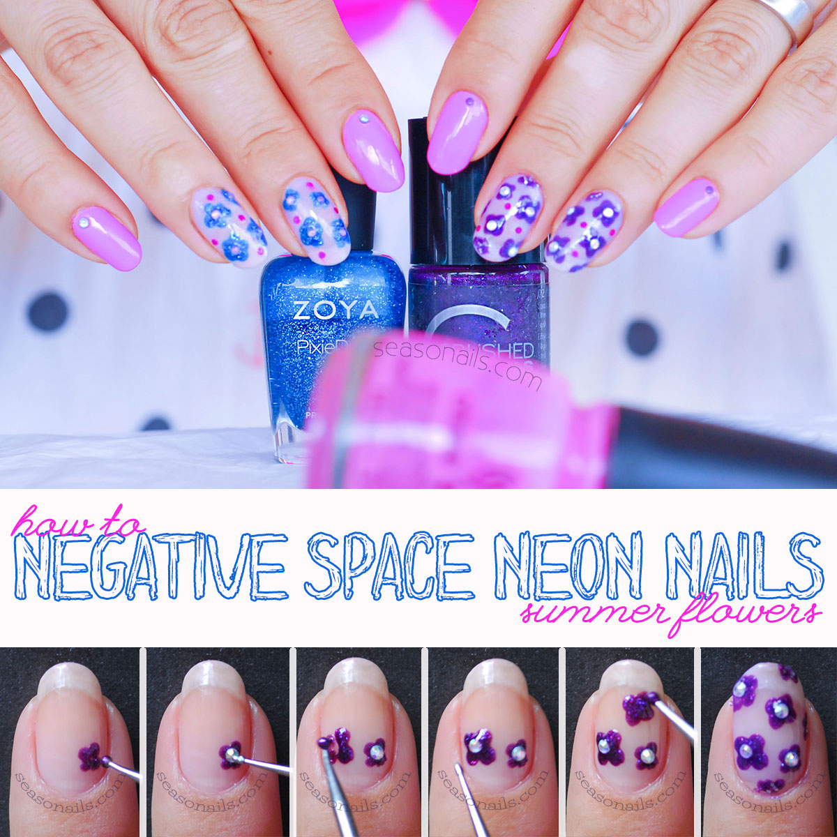 how to negative space neon summer nails tutorial