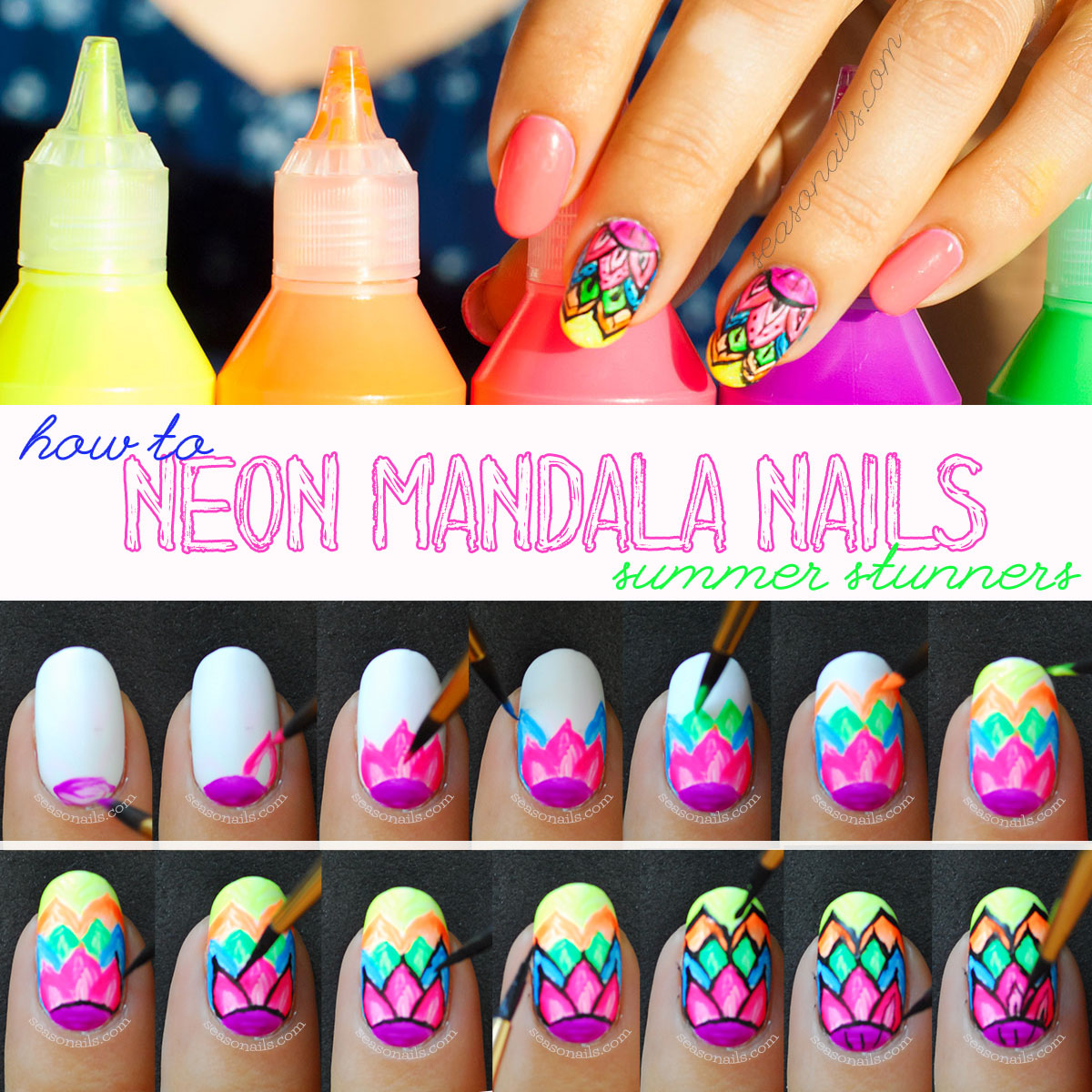 how to neon mandala summer nails tutorial