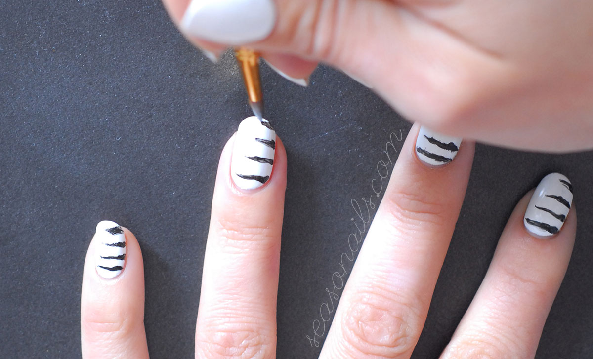 how to paint abstract zebra nails