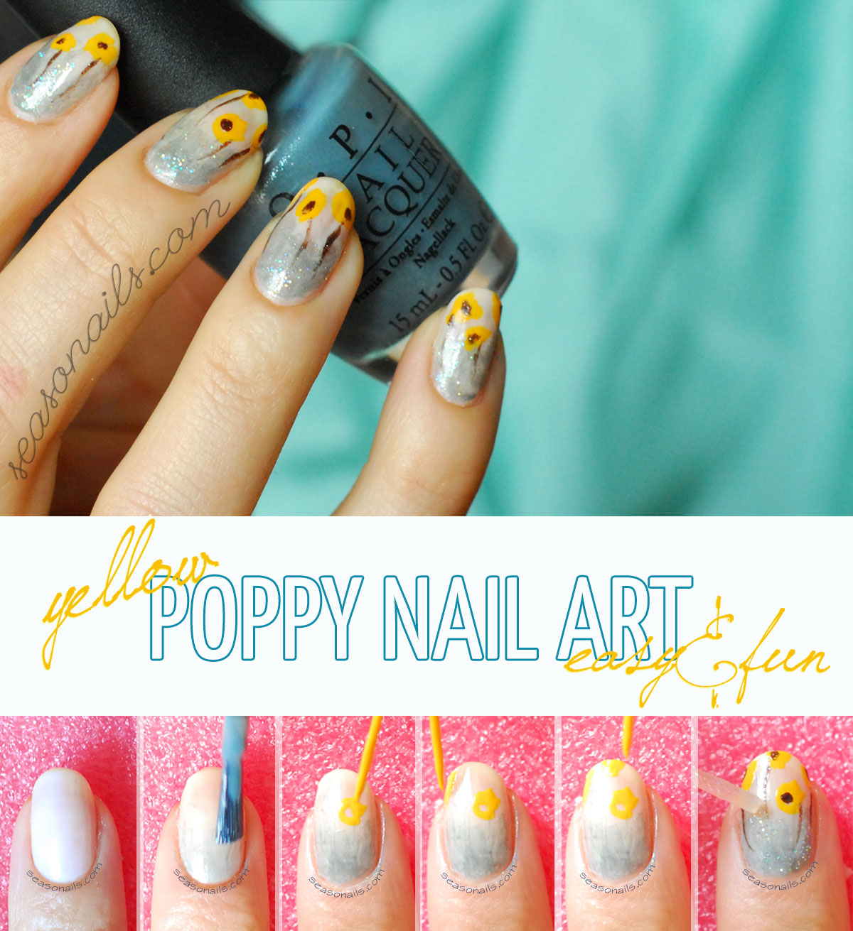 how to poppy spring summer nail art tutorial