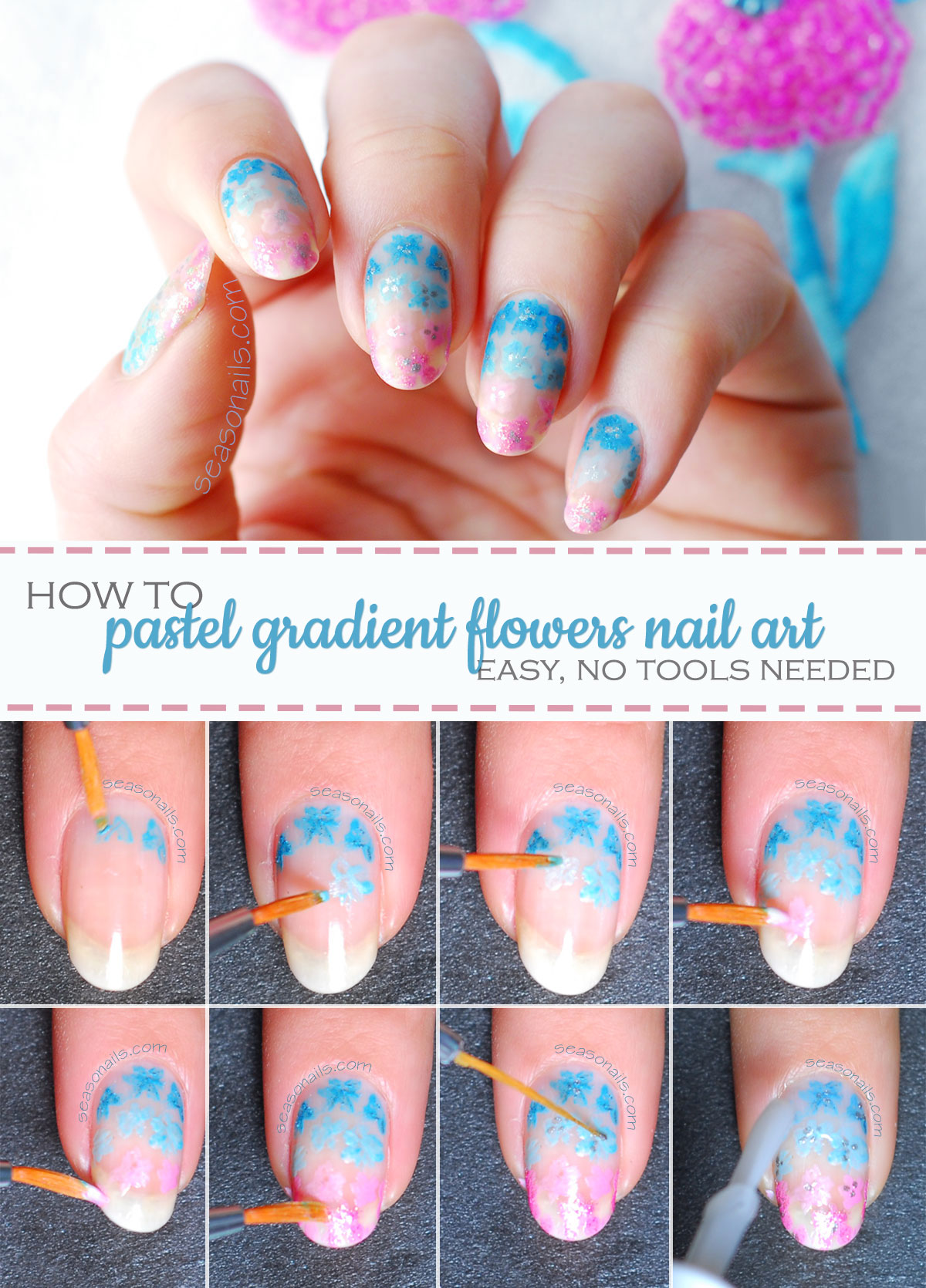 how to spring pastel gradient flowers tutorial